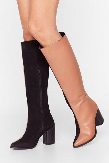 Black Two-Tone It Down Knee-High Heeled Boots