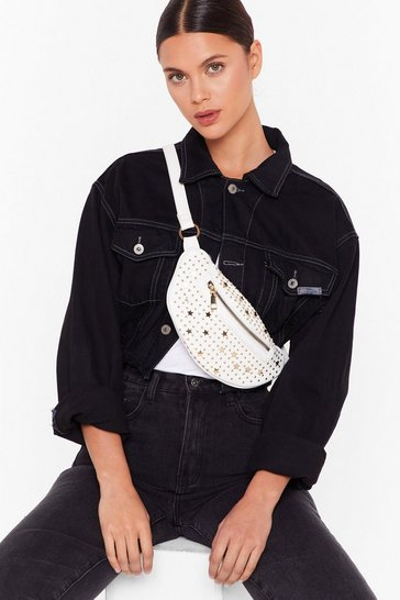 White WANT You're Going Star Studded Fanny Pack