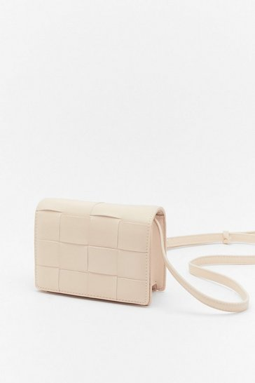 Stone WANT You've Been Woven Faux Leather Bag