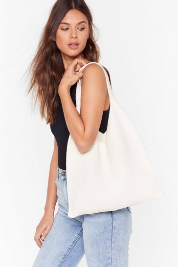Womens Cream Knitted woven shopper bag