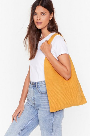Womens Yellow Knitted woven shopper bag