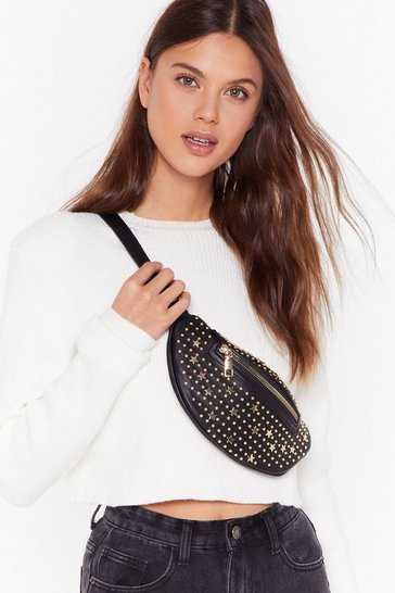 Womens Black WANT You're Going Star Studded Fanny Pack