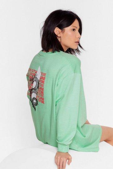 Mint Time Well Serpent Graphic Sweatshirt Dress
