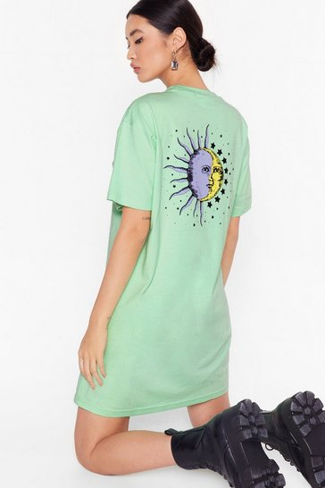 Mint To the Moon and Back Graphic Tee Dress
