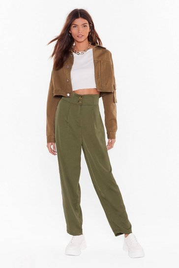 Womens Khaki Like It or Not High-Waisted Pants