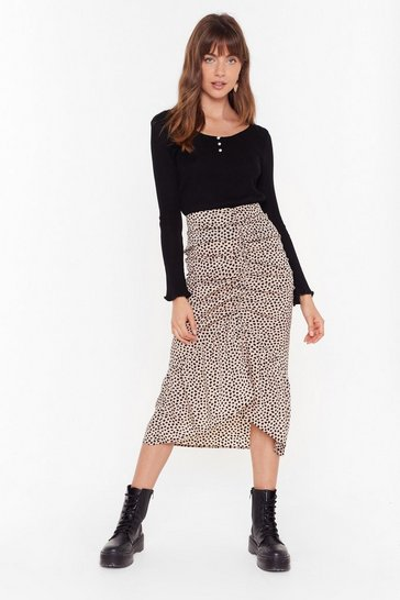 Beige Ruche Over Here Spotty Midi Skirt