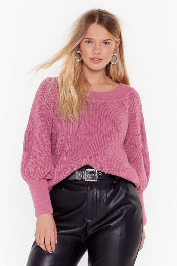 Womens Pink Keep Knit Warm Off-the-Shoulder Plus Sweater