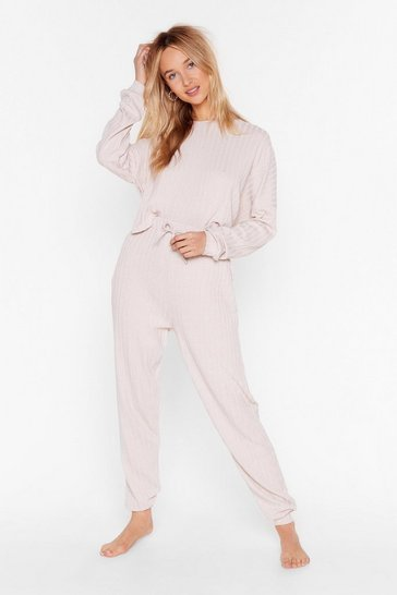 Nude Take Me to Bed Ribbed Jogger Lounge Set