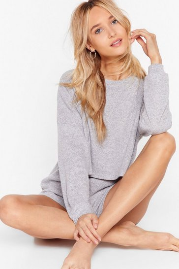 Grey Got the Shorts for Ya Cropped Sweater Lounge Set