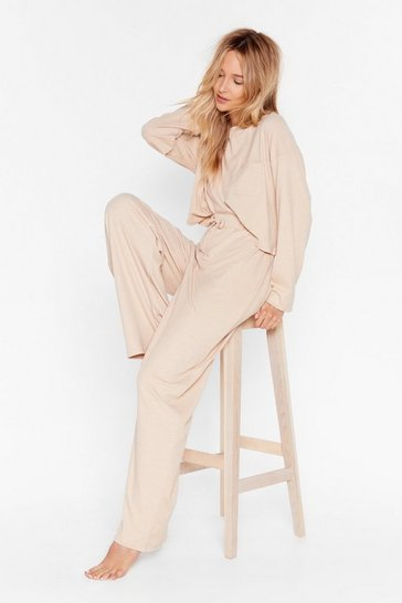 Oatmeal Come Chill With Us Ribbed Pants Lounge Set