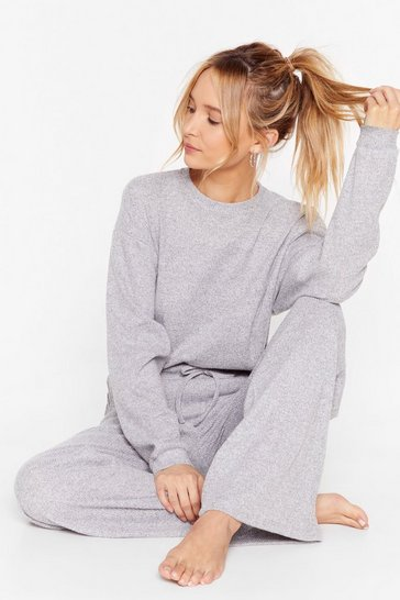 Grey Rib and Repeat Knit Wide-Leg Lounge Set
