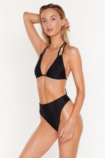 Black 'Tis the Sea-son Strappy Triangle Bikini Top