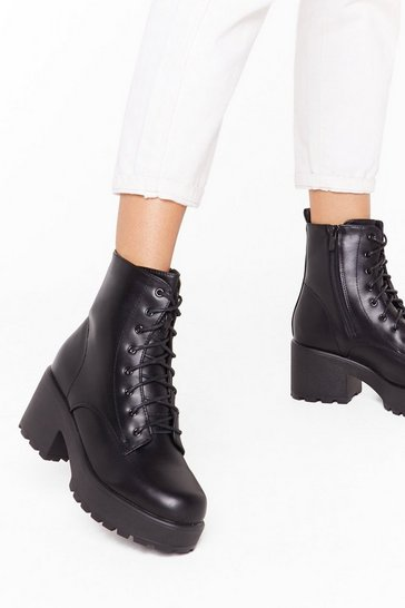 Black We Stand Corrected Faux Leather Lace-Up Boots