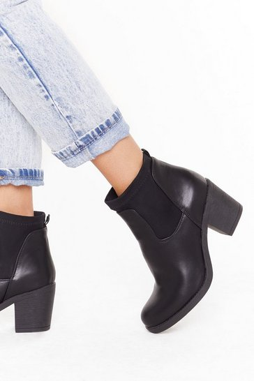 Black Get Your Foot in the Door Faux Leather Ankle Boots