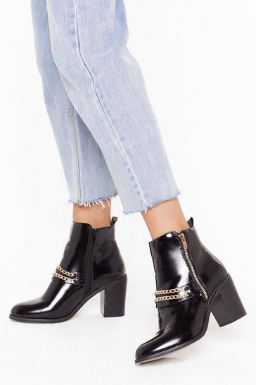 Womens Black Dancin' in the Chain Faux Leather Patent Boots