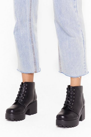 Black Take You to Chunky Town Faux Leather Ankle Boots
