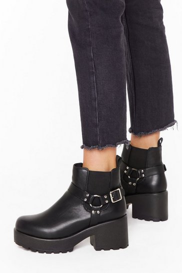 Womens Black Harness faux leather chunky boots