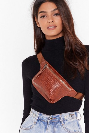 Brown WANT Croc That Body Faux Leather Fanny Pack
