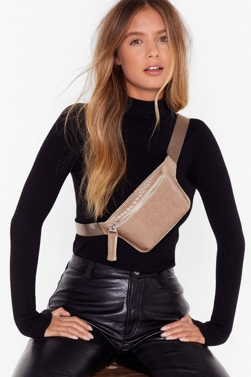 Stone WANT Croc That Body Faux Leather Fanny Pack