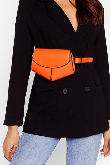 Womens Orange WANT Shape of You Faux Leather Belt Bag