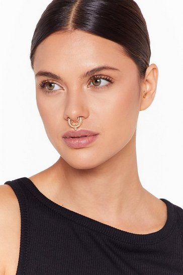 Womens Gold So Nosy Faux Septum Peircing Set