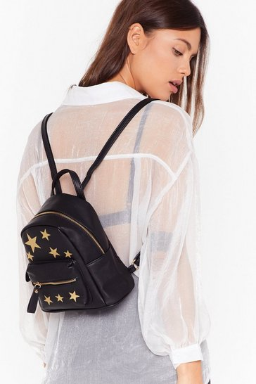 Womens Black WANT Blazing Star Faux Leather Backpack
