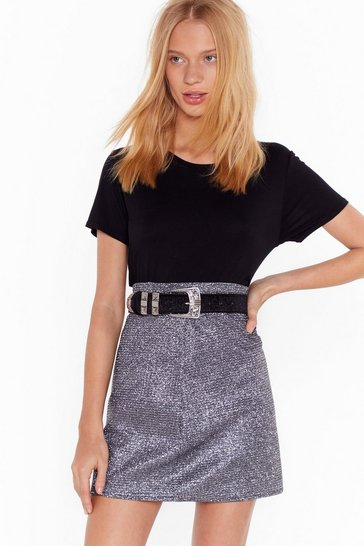 Black We Wish You the West-ern Faux Pony Hair Belt