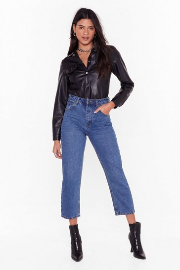 Womens Mid blue Straighten Your Act High-Waisted Denim Jeans
