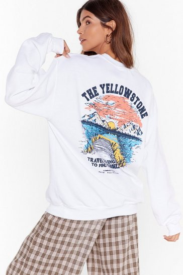 White The Yellowstone Mountain Graphic Sweatshirt