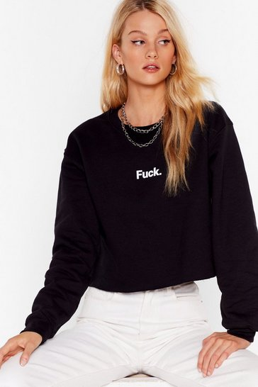 Black Ah Fuck Cropped Graphic Sweatshirt