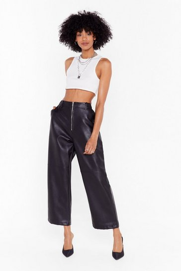 Black Faux Leather Gonna Give You Up Wide-Leg Trousers