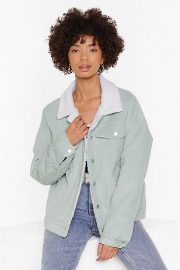 Womens Green On Borg With It Corduroy Jacket