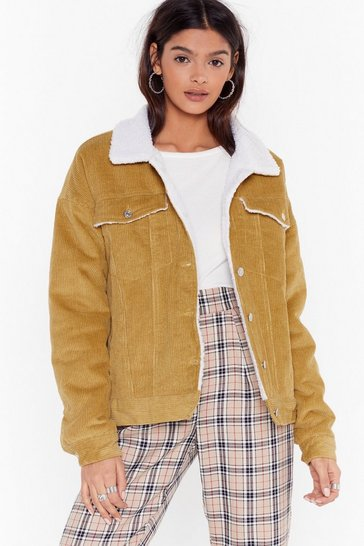 Womens Mustard On Borg With It Corduroy Jacket