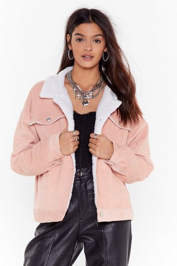 Womens Pink On Borg With It Corduroy Jacket