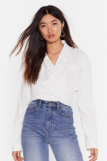 White She's Cut-Out of Control Cropped Jacket