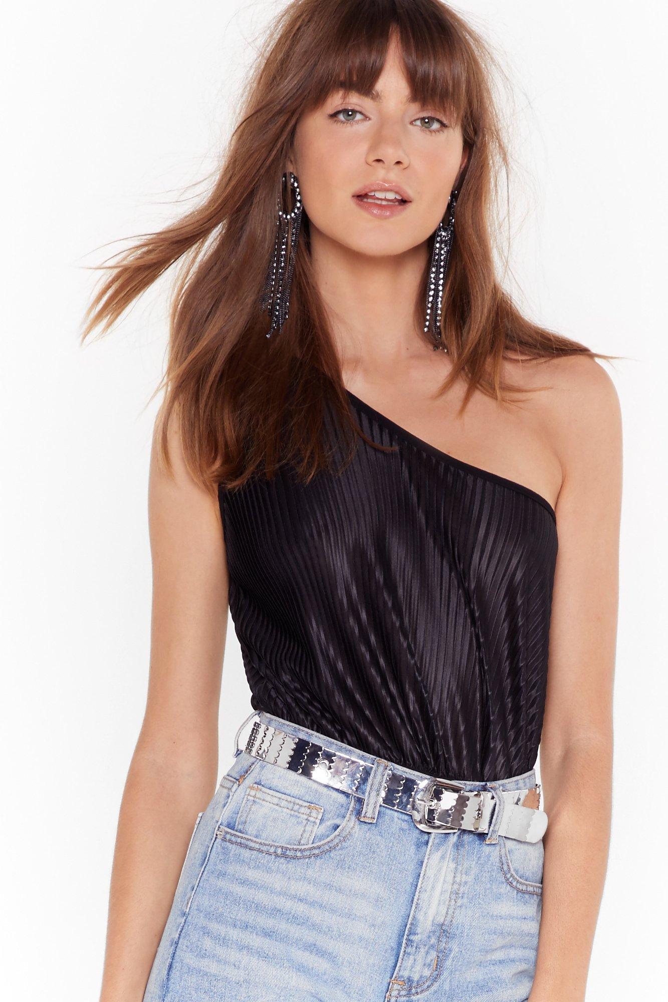 Be The One Shoulder Metallic Bodysuit by Nasty Gal