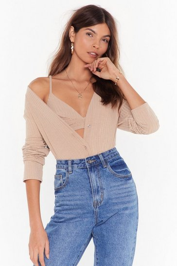 Womens Stone Leave 'Em Two It Ribbed Bra Top and Cardigan Set