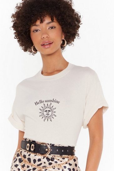 Womens Natural Hello Sunshine Graphic Tee