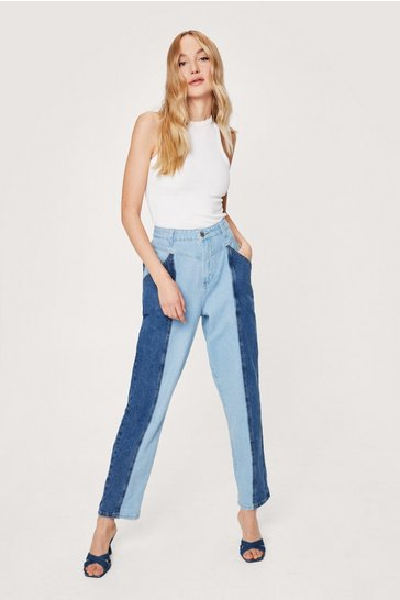 Blue You Don't Two Tone Me Denim Mom Jeans
