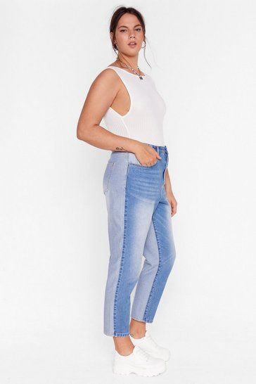 Blue Plus Size Two Tone Tapered Mom Jeans