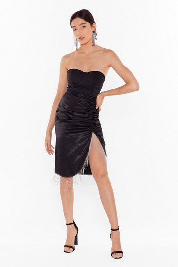 Womens Black Takes Two to Tango Satin Fringe Skirt