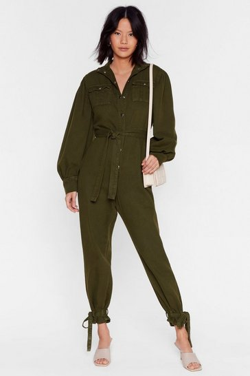 Khaki Switch Up the Volume Denim Belted Boilersuit