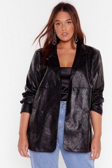 Black Snake Me Laugh Plus Faux Leather Jacket