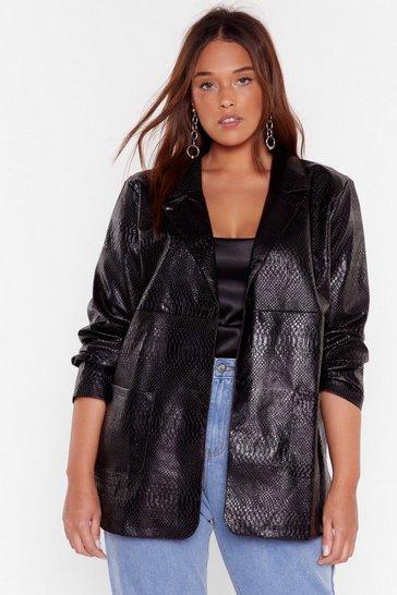 Black Snake Me Laugh Plus Faux Leather Jacket
