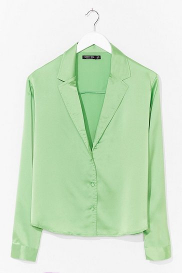 Apple green Plus Size Satin Shirt with Blouson Sleeves