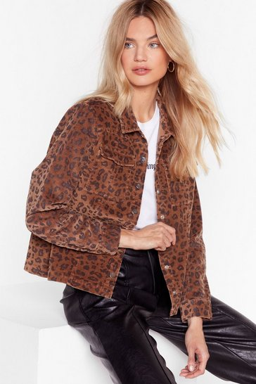 Brown Spot Me if You Can Leopard Corduroy Jacket