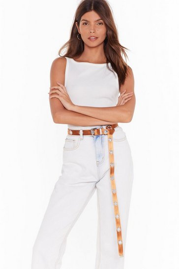 Womens Tan Got My Eyelet On You Canvas Belt