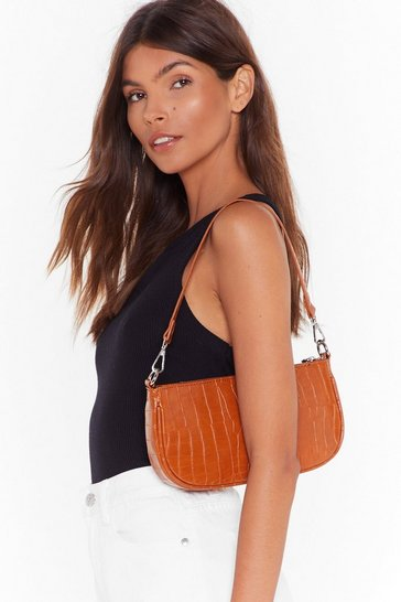 Womens Tan WANT You'll Be Back Croc Shoulder Bag
