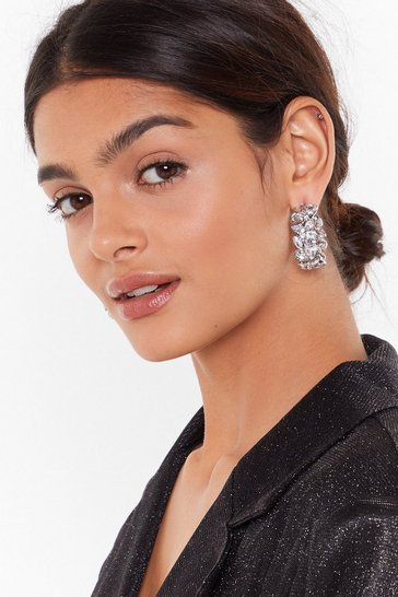 Womens Silver Diamante hoop earrings