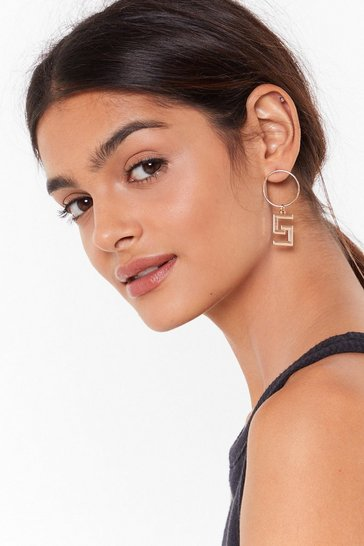 Womens Gold Drop It Low Geometric Hoop Earrings